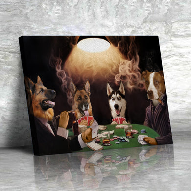 The Poker Players Custom Pet Portrait Canvas - Noble Pawtrait