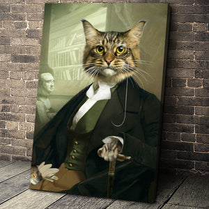 The Professor Custom Pet Portrait Canvas - Noble Pawtrait