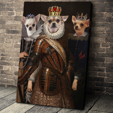 The Trio Custom Pet Portrait Canvas - Noble Pawtrait