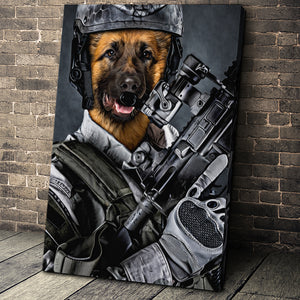 The US Army Custom Pet Portrait - Noble Pawtrait