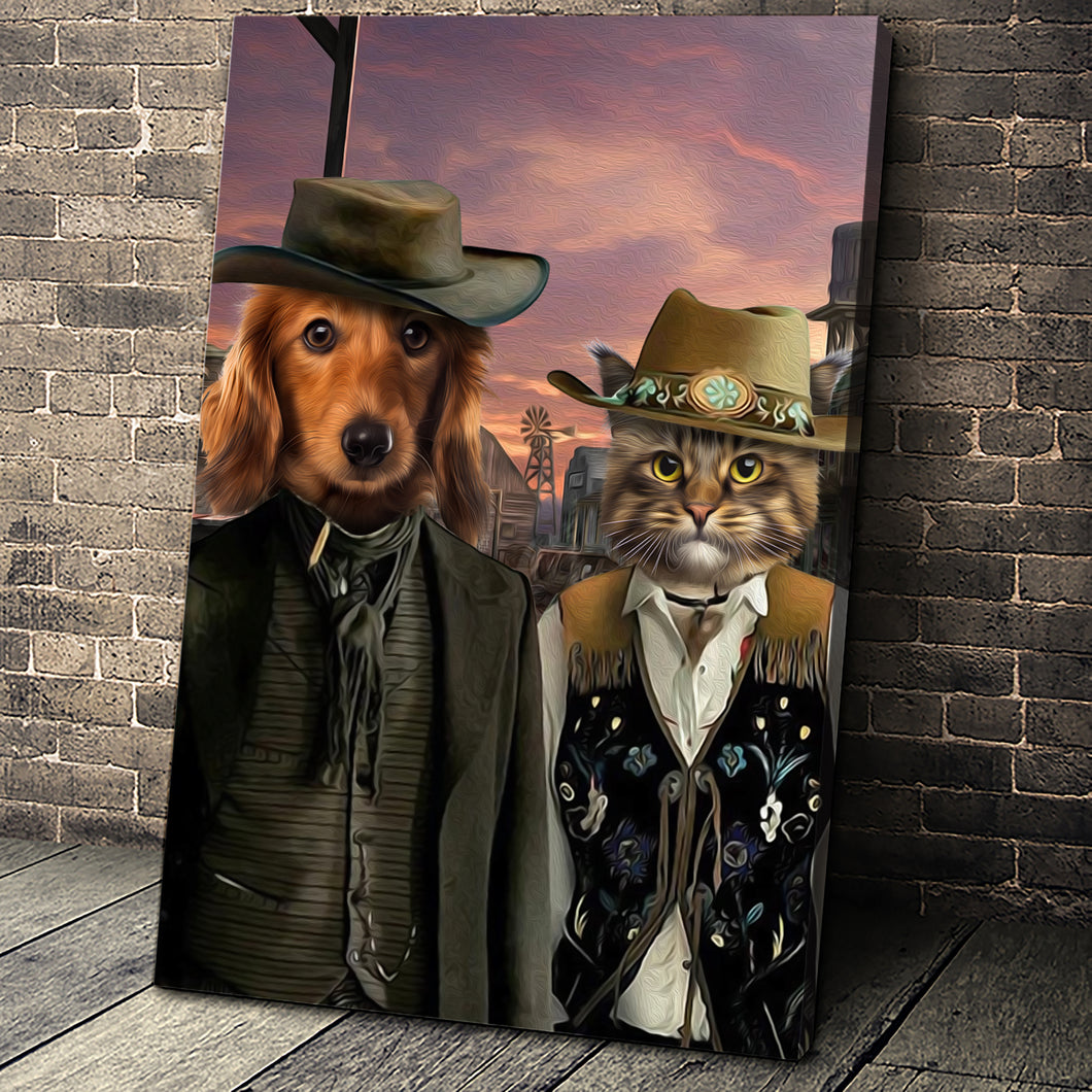 The Wild West Custom Pet Portrait Canvas - Noble Pawtrait