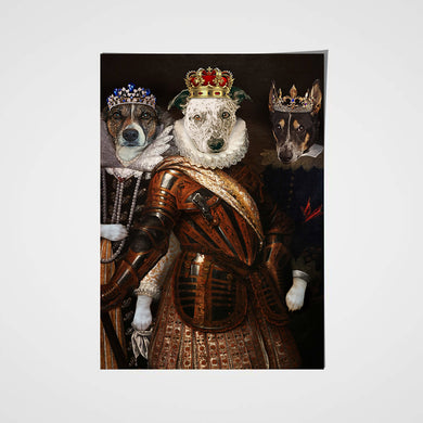 The Trio Custom Pet Portrait Poster - Noble Pawtrait