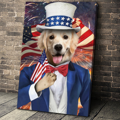 The Uncle Sam Custom Pet Portrait - Noble Pawtrait
