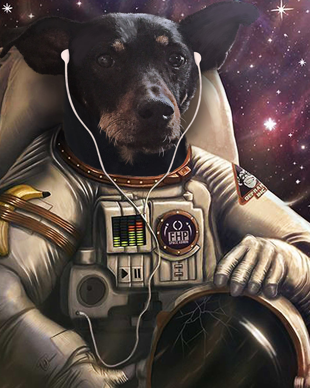 The Astronaut Custom Pet Portrait Digital Download - Noble Pawtrait