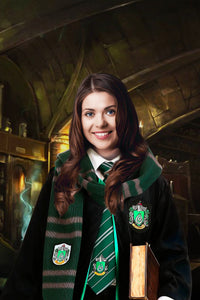 The Wizard Slytherin Custom Human Portrait Canvas - Noble Pawtrait