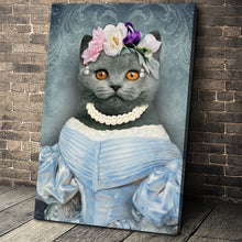 Load image into Gallery viewer, The Lady in Blue Custom Pet Portrait Canvas - Noble Pawtrait