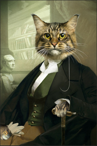 The Professor Custom Pet Portrait Digital Download - Noble Pawtrait