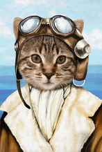 Load image into Gallery viewer, The Female Pilot Custom Pet Portrait - Noble Pawtrait