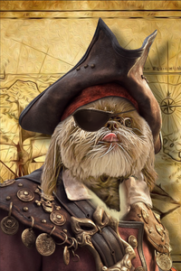 The Pirate Custom Pet Portrait Digital Download - Noble Pawtrait