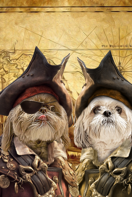 The Duo Pirates Custom Pet Portrait Digital Download - Noble Pawtrait
