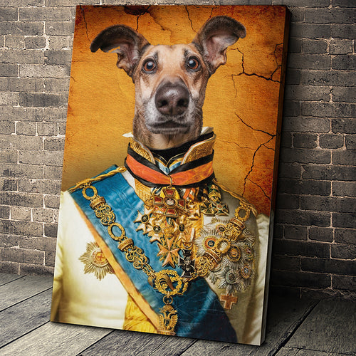 The Prince Custom Pet Portrait Canvas - Noble Pawtrait