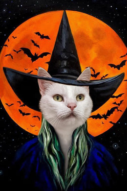 The Bloodmoon Witch Custom Pet Portrait Digital Download - Noble Pawtrait