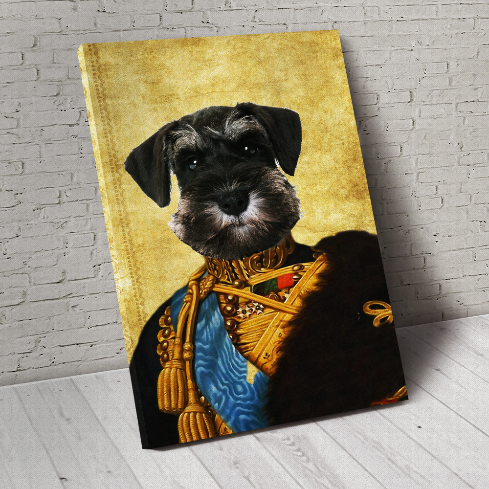 The Colonel En Second General Custom Pet Portrait Canvas - Noble Pawtrait
