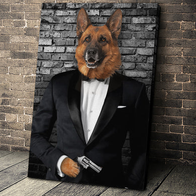 The Secret Agent Custom Pet Portrait - Noble Pawtrait