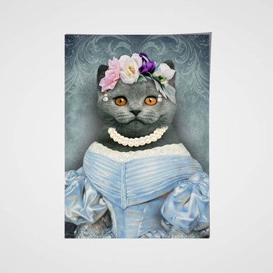 The Lady in Blue Custom Pet Portrait Poster - Noble Pawtrait