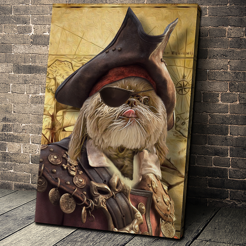 The Pirate Custom Pet Portrait - Noble Pawtrait