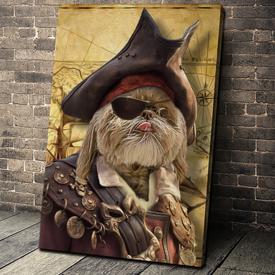 The Pirate Custom Pet Portrait Canvas - Noble Pawtrait