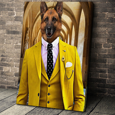 The Yellow Suit Custom Pet Portrait Digital Download - Noble Pawtrait