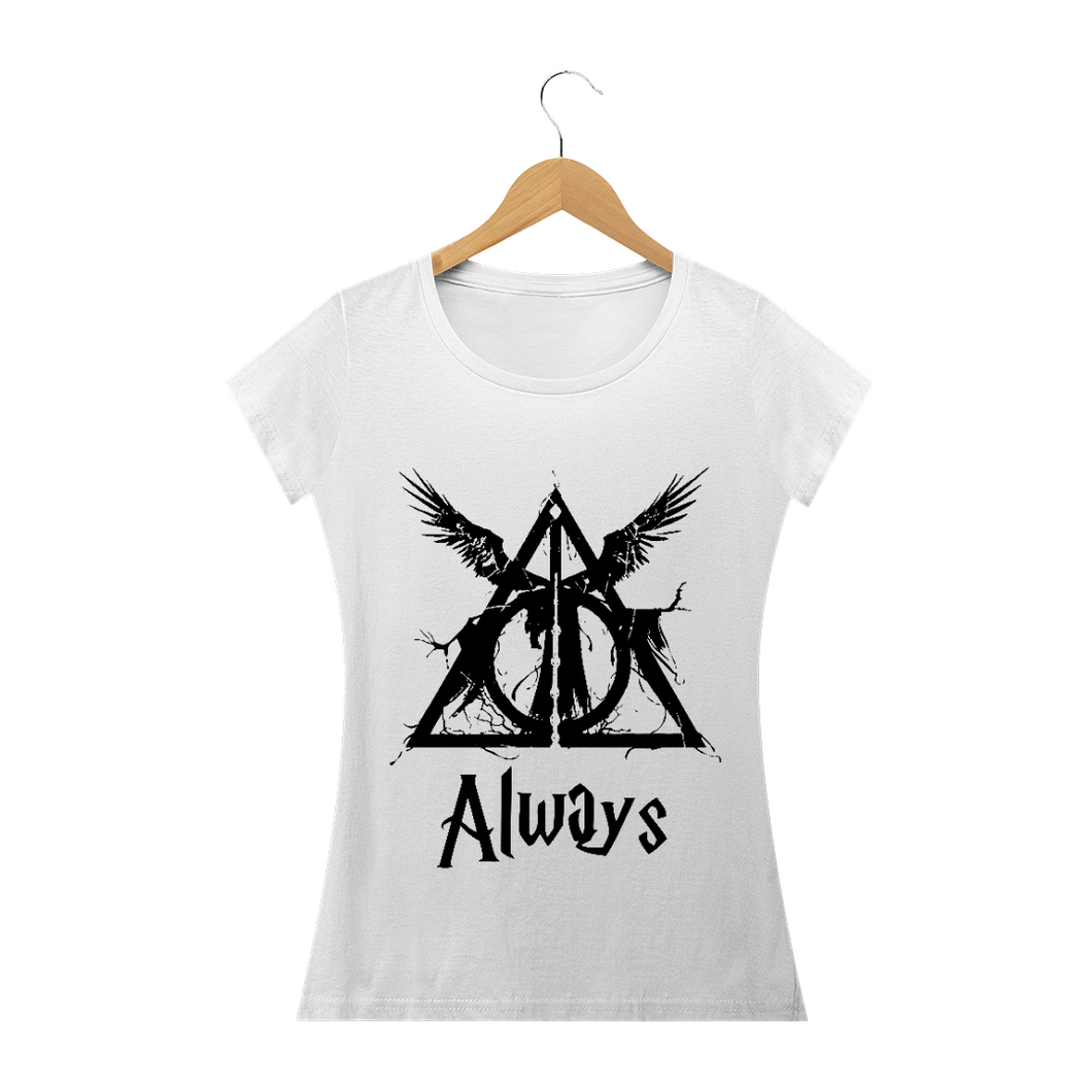 Camiseta Feminina Harry Potter Relíqueas da Morte