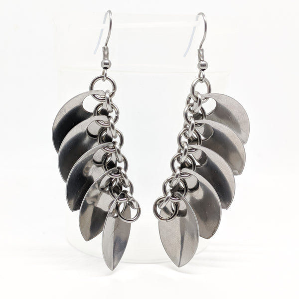 Angel Wing Earrings, Stainless Steel - ZenJumps Chainmaille