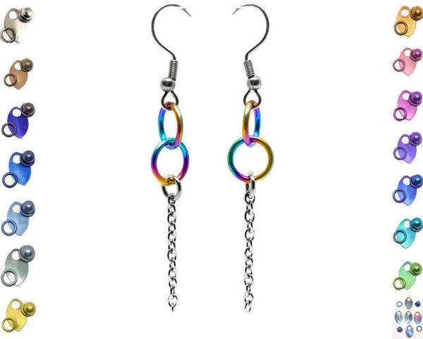 Interlocking Ring Drop Earrings, Titanium