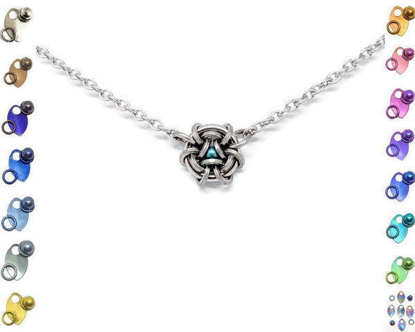 Petite Hoodoo Hex Squared Pendant - ZenJumps Chainmaille