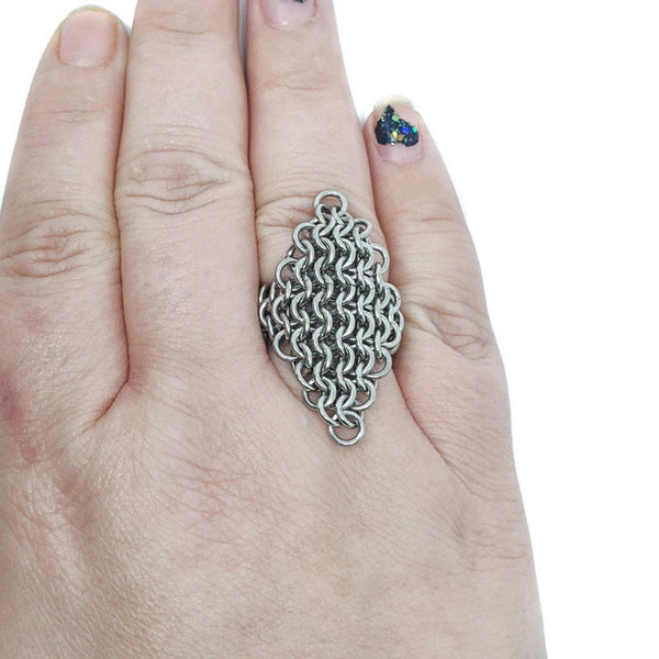 Diamond Mesh Finger Ring - ZenJumps Chainmaille