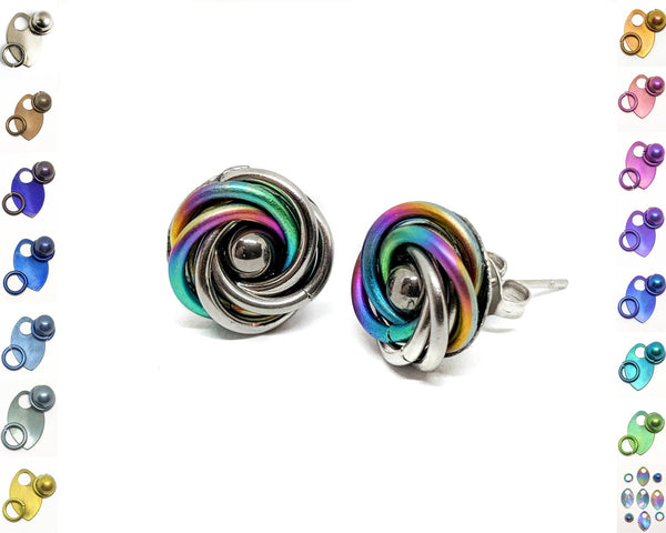 Mobius Stud Earrings - ZenJumps Chainmaille