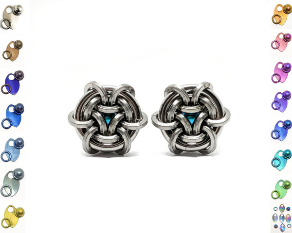 Hoodoo Hex Squared Stud Earrings - ZenJumps Chainmaille