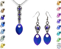 Captured Sphere 2 Piece Earrings and Necklace Gift Set - ZenJumps Chainmaille