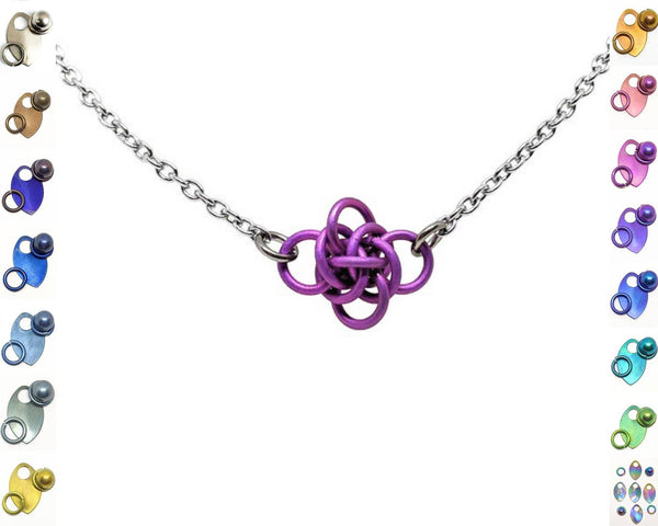 Persephone Focal Necklace, Titanium - ZenJumps Chainmaille