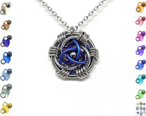 Trinity Rose Pendant, Titanium Accent Rings - ZenJumps Chainmaille