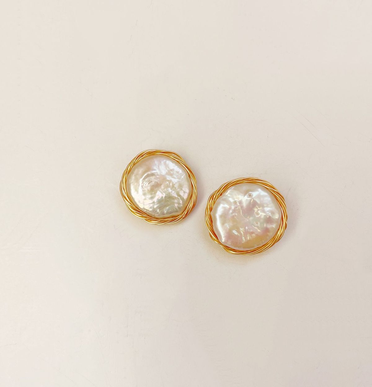 Gold Wrapped Pearl Studs