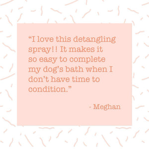 dr sniff detangling spray makes it easy to apply and you can skip conditioner if your pup really hates bath time