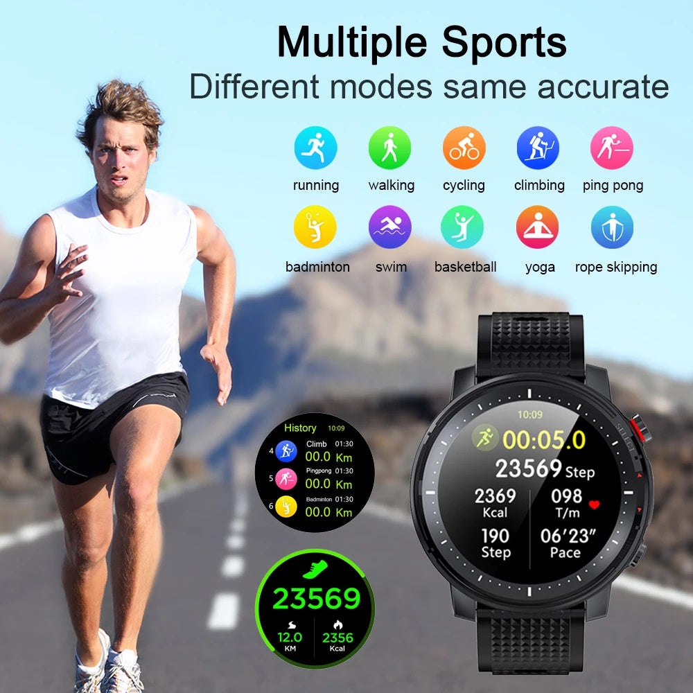 Fully touch Smart Watch Heart Rate Monitor + IP68 Waterproof Smartwatch for IOS Android phone