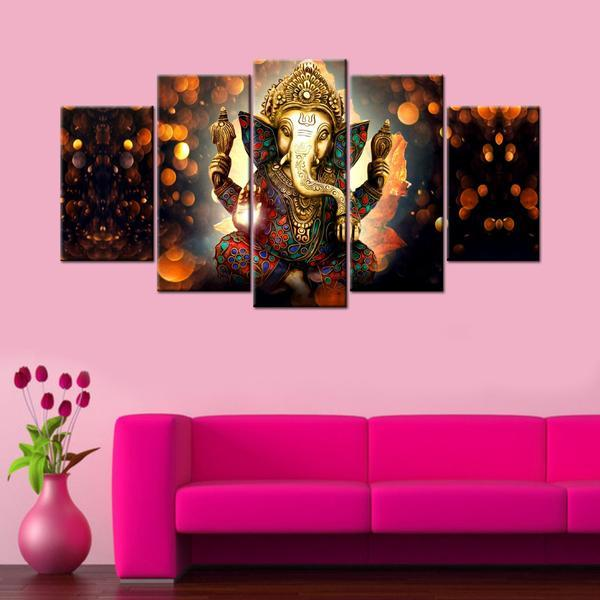 Lord Ganesha 5 Piece Canvas Wallart - HD Quality