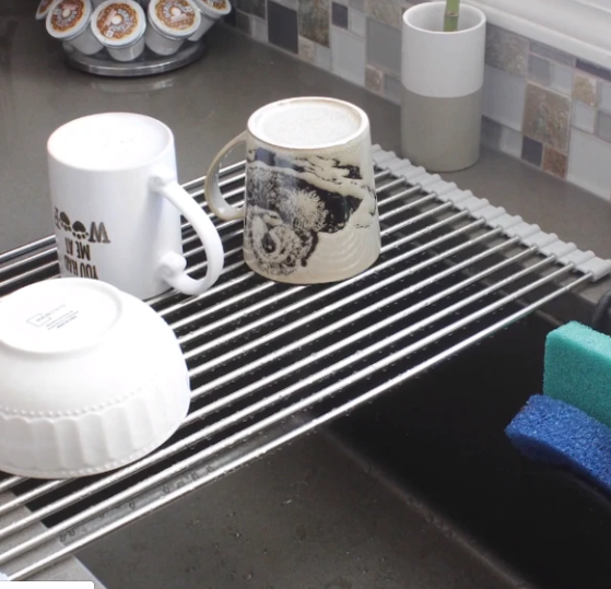 Extra Large Over the Sink Roll-Up Dish Drying Rack