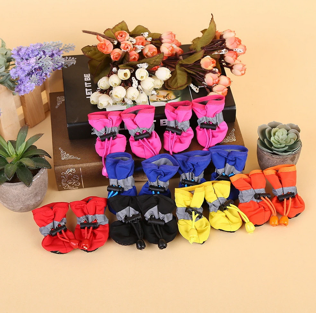 4 Pcs/Set Portable Waterproof Pet Dog Shoes