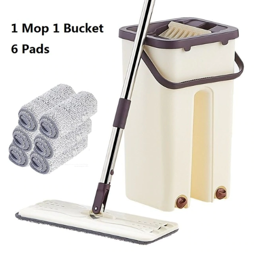 Flat Squeeze Mop and Bucket Hand-Free Wringing