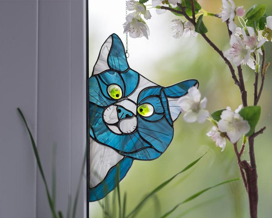 Funny Cat Decor - Peeking Cat Window Hangings - Christmas Gift