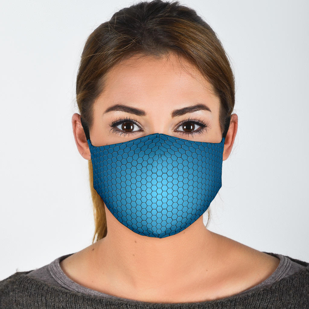 Blue Glow Hexagon Pattern Face Mask