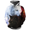 3D Yin Yang Wolves Fire Ice Unisex Hoodie