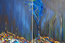 Load image into Gallery viewer, Original acrylic painting by Alexandra Iorgu depicting deforestation and a blue, hope tree emerging out of the damage. Large diptych acrylic painting.