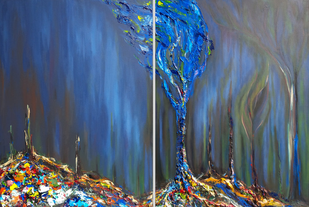 Original acrylic painting by Alexandra Iorgu depicting deforestation and a blue, hope tree emerging out of the damage. Large diptych acrylic painting.