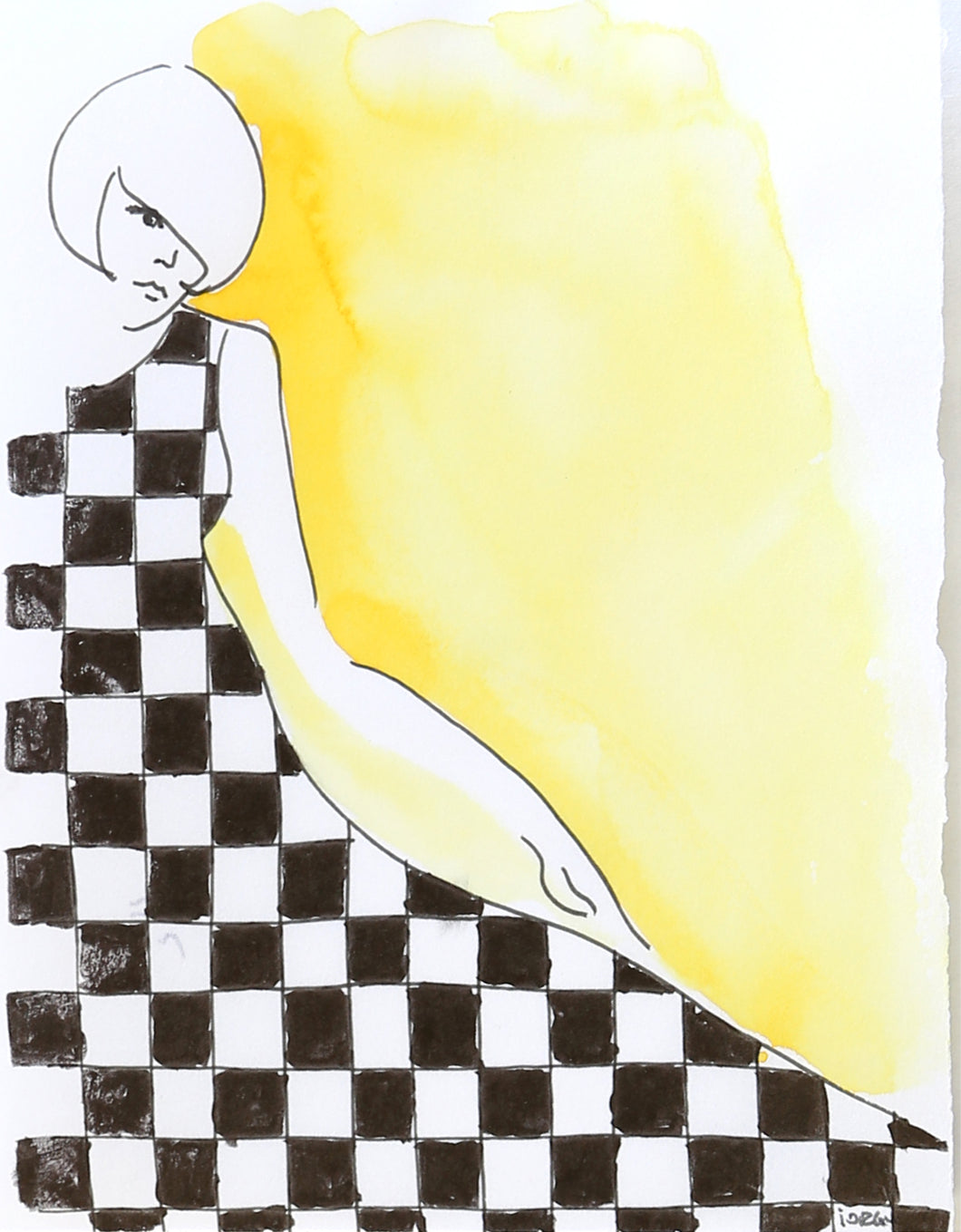 Retro artwork by Alexandra Iorgu of a girl wearing a checkers dress.