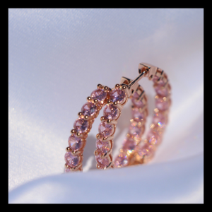"""Nicki"" Pink Diamond Huggie Hoops - Shop First Class"