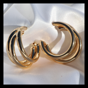 """Carlita"" Chunky Triple Hoops - Shop First Class"