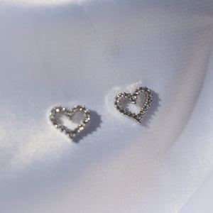 """LOVE YOU"" Heart shaped diamond studs - Shop First Class"