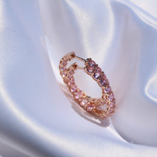"Load image into Gallery viewer, ""Nicki"" Pink Diamond Huggie Hoops - Shop First Class"