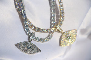 """See No Evil"" Diamond Evil Eye Pendant Necklace - Shop First Class"